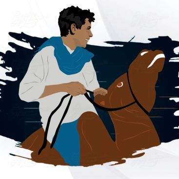 Horse Riding Arabic Person Character Illustrration Design