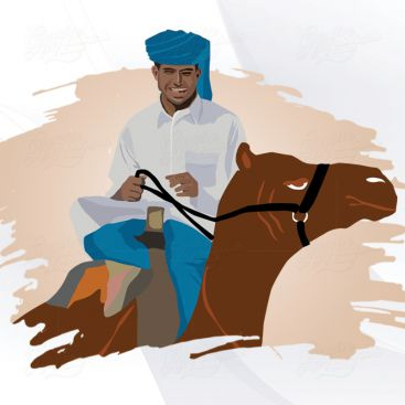 Horse Riding Character Illustrration Design