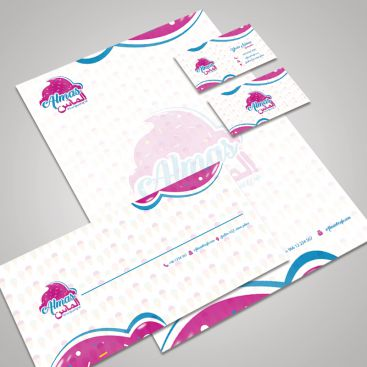 Almas Cafe Icecream and Yogurt Stationery & Business Card Design